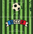 soccer ball rolls across the field to the gate vector image
