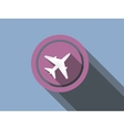 airplane flat icon on a blue background vector image