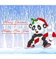 Cartoon funny panda bear holding Christmas candy vector image