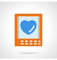 Postcard with blue heart fat color icon vector image