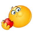 emoticon eating apple vector image vector image