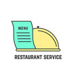 restaurant service with outline dish vector image
