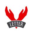 logo hands the form of letter V vector image