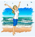 Lady Enjoying the Beach vector image