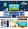 Gamer room interior with gadgets vector image
