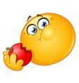 emoticon eating apple vector image