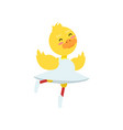 funny little yellow duckling in white dress on ice vector image