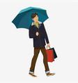 guy under the umbrella vector image