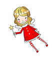 hand drawn cute little fairy with a magic wand vector image