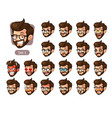 the first set of bearded hipster facial emotions vector image