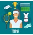 Tennis sport equipment and outfit elements vector image vector image