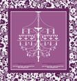 purple vintage invitation wedding card vector image