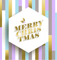 Gold christmas card design on geometric background vector image vector image