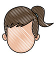 drawing head girl faceless character image vector image