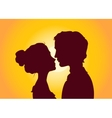 Sunset silhouettes of couple vector image