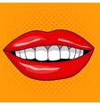 Pretty Female Smiling Lips in Retro Pop Art Style vector image