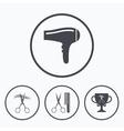 Hairdresser icons Scissors cut hair symbol vector image