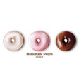 donuts set realistic delicious detailed vector image