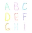 Font pencil crayon ABC chalk letters Handwritten vector image