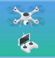 isometric radio-controlled drone innovation video vector image