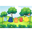 Washed clothes hanging at the top of the hills vector image