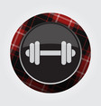 button with red black tartan - dumbbell icon vector image