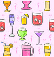 pattern drink various pink background vector image