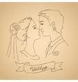 Sketch of bride and groom vector image