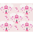 Princess unicorn and castle Background vector image vector image
