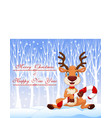Cartoon funny baby bear holding Christmas candy vector image vector image