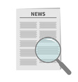 Newspaper icon Optic glass instrument Magnifier vector image