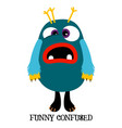 cute confused monster print design vector image