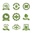 Mint leaves logos label emblems set vector image