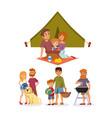 picnic setting with fresh food hamper basket vector image