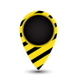 tag map of the world with yellow and black stripes vector image