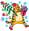 New Years cat with Christmas tree vector image