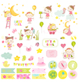 Cute Baby Girl Scrapbook Set Stickers Notes vector image