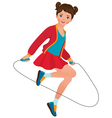 Girl with a skipping rope vector image vector image