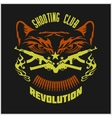 Shooting Club - emblem with crossed guns and tiger vector image