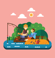Fishing landscape vector image