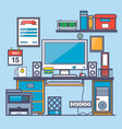 office interioroffice desk and accessorythin vector image