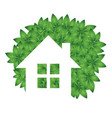 eco house and green leaves vector image vector image
