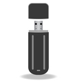 Black flash drive isolated on the white background vector image vector image