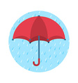 Icon of red umbrella and rainy day vector image