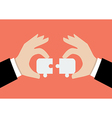 Hands pushing two jigsaw pieces together vector image