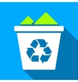 Full Recycle Bin Flat Long Shadow Square Icon vector image