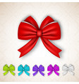 festive gift satin ribbon bows set vector image