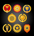 flat awards collection set of trophies emblems vector image