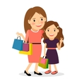 Mom and daughter shopping day vector image