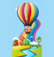 scene with kids in hot air balloons vector image